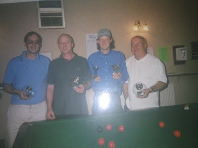 Brian Johnson and Ian Hopton winners of the Snooker Doubles Competition in 2003-2004 season with the runners up.